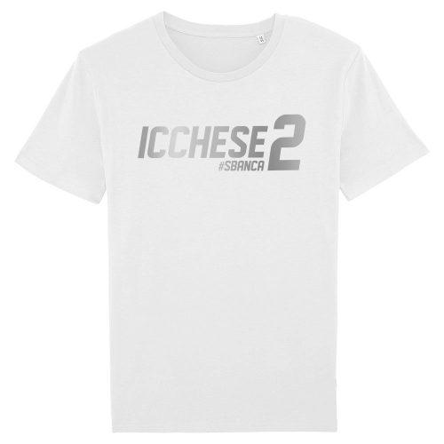 Icchese2 argento su T-shirt bianca