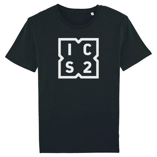 ICS2 bianco su T-shirt nera